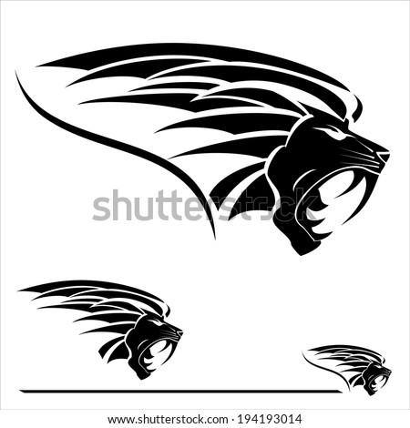 Lion Head with the extreme fang. Side View Black Lion Head - stock vector