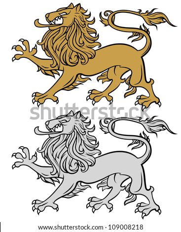 lion illustration isolated on white, heraldry style - stock vector