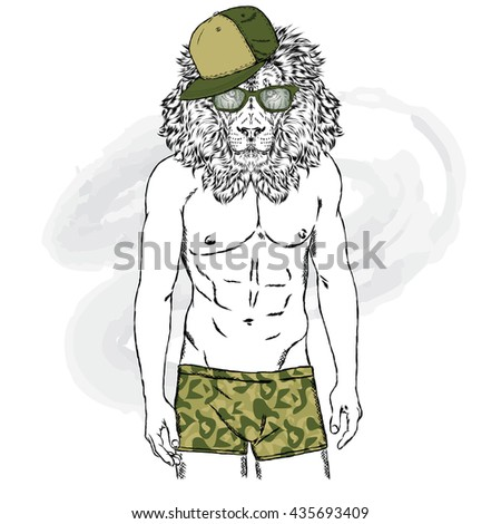 Lion swimming trunks man beautiful body stock vector 435693409 lion in swimming trunks the man with a beautiful body vector illustration for greeting m4hsunfo