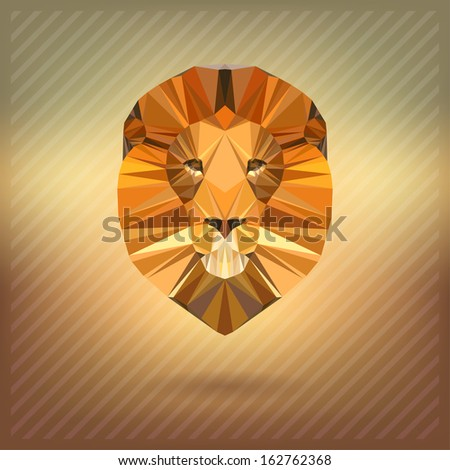lion in the style of origami - stock vector