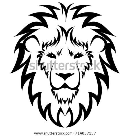lion logo black white lion head stock vector 714859159 shutterstock. Black Bedroom Furniture Sets. Home Design Ideas
