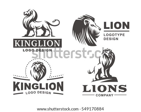 Lion logo set - vector illustration, emblem design on white background.
