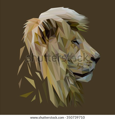 Lion low poly design. Triangle vector illustration. - stock vector