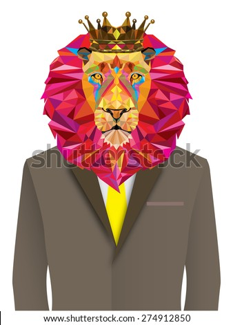Lion man in geometric pattern - Vector illustration - stock vector