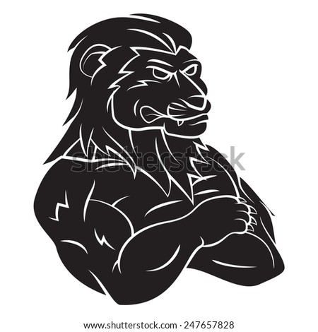 Lion Mascot Tattoo - stock vector