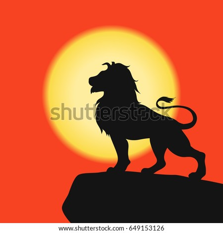 lion on rock black silhouette on stock vector 649153126