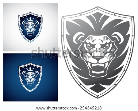 Lion on a Shield - stock vector