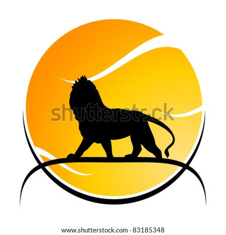 Lion on sunset background - stock vector