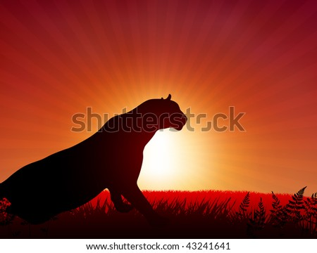 Lion on Sunset Background Original Vector Illustration Animals on Sunset Ideal for Wildlife Nature Concepts - stock vector