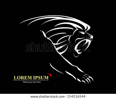 Lion, Roaring and Growling in the Dark - stock vector