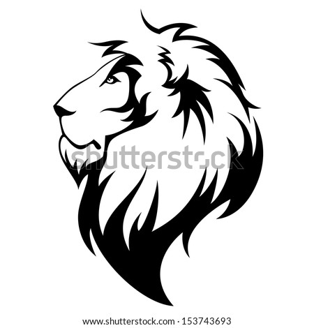 Lion's head black isolated on white