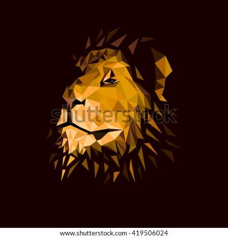 lion's head on a dark background - stock vector