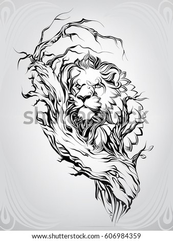 Lion Silhouette Tree Stock Vector 606984359 Shutterstock