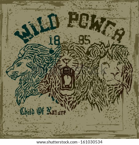 LION T-SHIRT PRINTED VECTOR - stock vector
