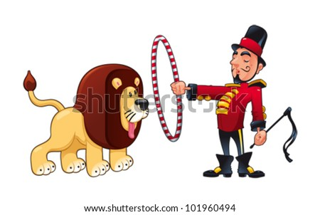 Lion Tamer With Funny Cartoon And Vector Circus Illustration