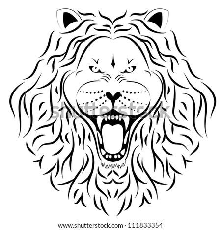 lion tattoo - stock vector