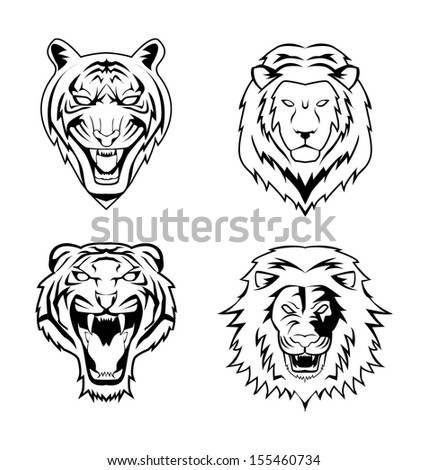 Lion Tiger - stock vector