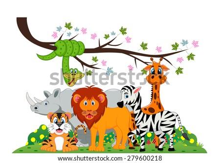lion, tiger, zebra, rhino, snake and giraffe were playing under a tree branch - stock vector