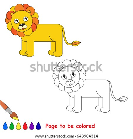 Lion To Be Colored The Coloring Book For Preschool Kids With Easy Educational Gaming Level