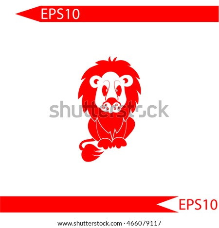 Lion vector.  Red icon on white background. Simple illustration.