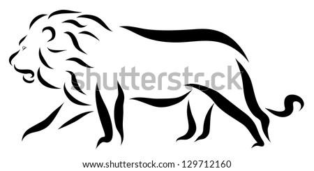 Lion Walking - stock vector