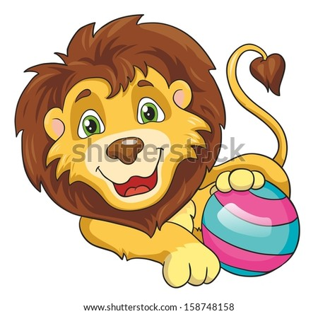 Lion with a ball on a white background, vector illustration - stock vector