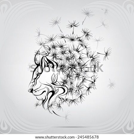 Lion with a mane of dandelion - stock vector