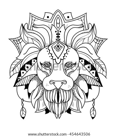Lion mandala stock vector royalty free 454643506 for Lion mandala coloring pages