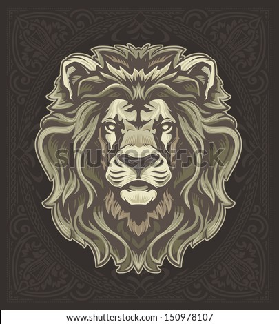 Lion with Vintage Pattern