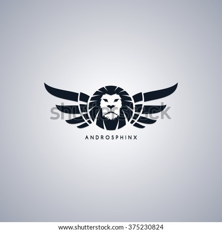 lion with wings - androsphinx mythology - stock vector