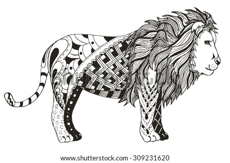 Lion zentangle stylized, vector, illustration, freehand pencil - stock vector