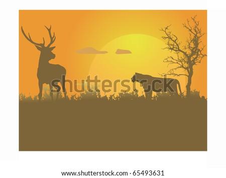 Lioness attacking deer - stock vector