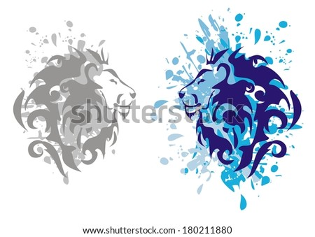 Lions heads with splashes - stock vector
