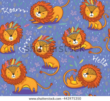 Lions seamless vector background. Cartoon lions, king of the jungle. Perfect for cards, invitations, party, banners, kindergarten, preschool and children room decoration - stock vector