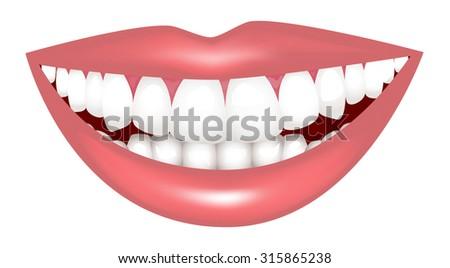 Lip and teeth - stock vector