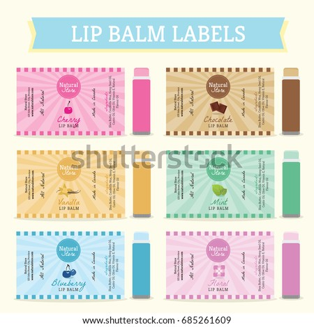 lip balm labels stock vector royalty free 685261609 shutterstock. Black Bedroom Furniture Sets. Home Design Ideas