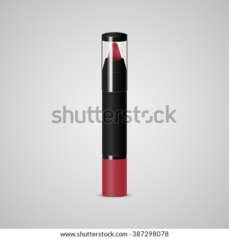 Lip crayon. Pen stick. Lipstick in pencil. Vector illustration - stock vector