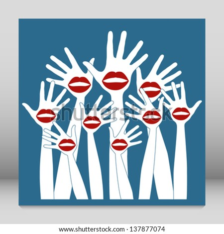 Lip hands party design.