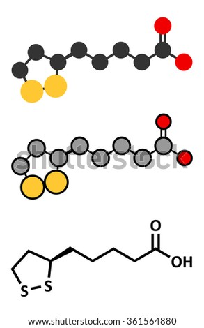 Lipoic acid enzyme cofactor molecule. Present in many nutritional supplements. Believed to have anti-oxidant, anti-aging and weight-loss effects.  - stock vector