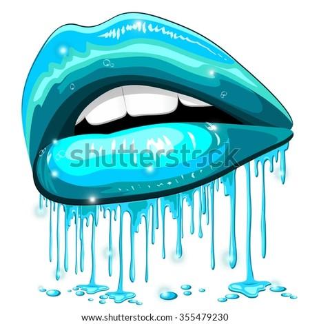 Lips Aqua Color Water Lipstick - stock vector