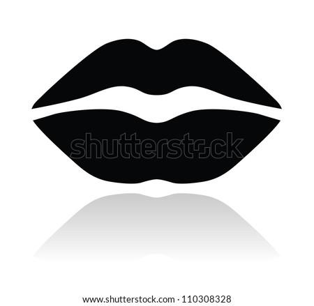 Lips black glossy icon - stock vector