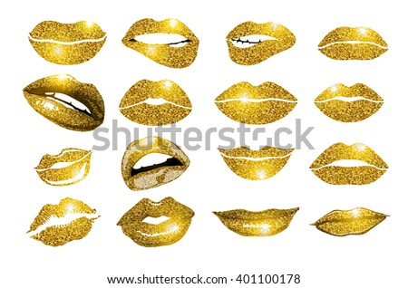 Lips gold set. Design glitter element. vector icon. Vector illustration of kiss print with shimmer - stock vector