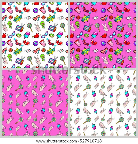 Lips, Hands and Hearts Seamless Pattern Set. Love Fashion Backgrounds in Retro Style. Vector illustration