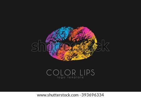 Lips logo design/ Woman lips. Color lips. Beautiful lips. - stock vector