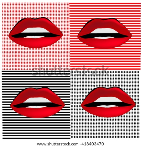 lips pattern red background black background teeth vector illustration