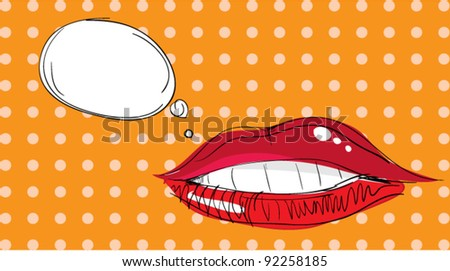 Lips Pop Art - stock vector