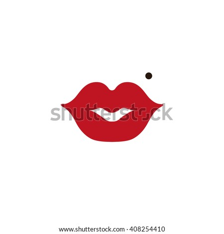 Lips,red flat icon,vector sign.Kiss lips symbol,love,beauty button.Girl mouths, nevus,birthmark,red lipstick makeup.Woman red lips isolated on white. Romantic,passion,cancer,health vector,sex symbol - stock vector