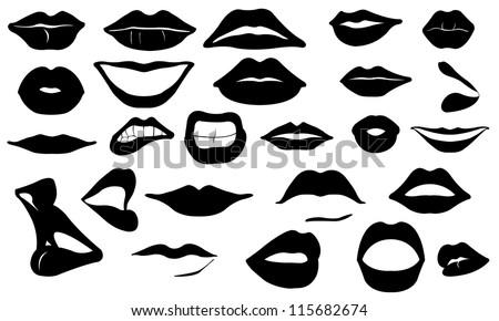 lips set isolated on white - stock vector