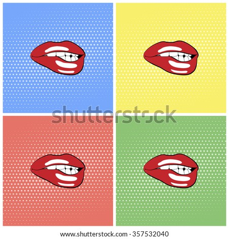Lips with red lipstick. Halftone background set