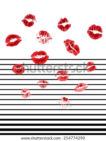 Lips with stripe pattern for fashion and other uses. - stock vector